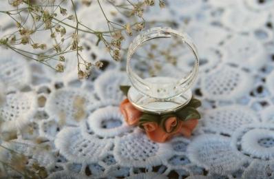 Кольцо кружевная роза